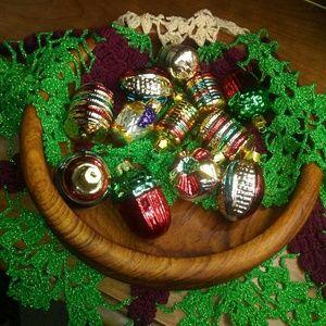 Teak Wood Bowl, Ornaments and Doily